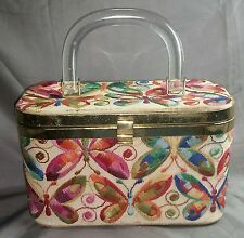 VINTAGE JR FLORIDA FOOTED NEEDLE POINT LUCITE HANDLE PURSE CREAM W/ BUTTERFLIES