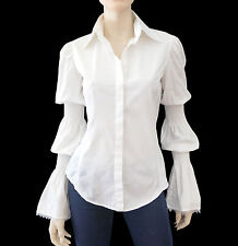FERRE JEANS White Cotton Button Down Top Elasticated Sleeve Shirt S ~ BNWT