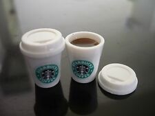 Set of 2 Starbucks Hot Coffee Dollhouse Miniatures Food Supply Deco