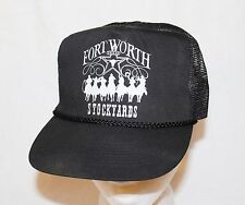 Vintage FORT WORTH STOCKYARDS TEXAS Baseball Trucker Cap Hat Snapback