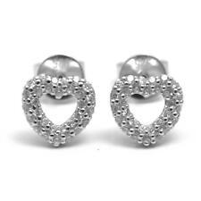 Diamond-unique Cuore Orecchini solido SILVER DIAMOND Set PLATINO su