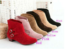Fashion Womens Buckle Ankle Boots Low Heel Shoes 5 Colours US All Size OB602