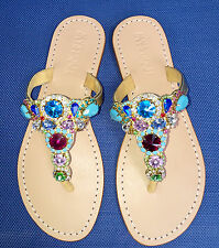 NEW 7 MYSTIQUE Jeweled Rhinestone Crystal Gold Leather Thong Sandals Flip Flops
