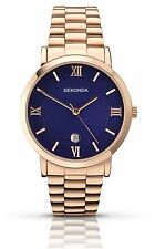 SEKONDA 1090 Steel Rose Gold Plated Blue Face Watch