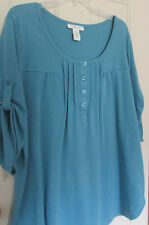 Ladies Roamans, L, teal knit top, 1/4 button down, roll tab 3/4 sleeves
