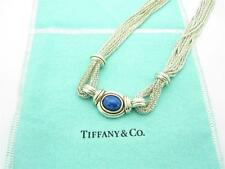 RARE Tiffany & Co. Sterling Silver 18K Gold Multi Strand Lapis Stone Necklace