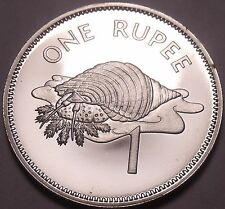 Rare Proof Seychelles 1982 Rupee~Only 5,000 Minted~Triton Conch Shell~Free Ship