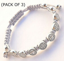 St.Benedict (3 Pack) Gray Corded Rosary Bracelet w/ (10) Silver Tone Medallions