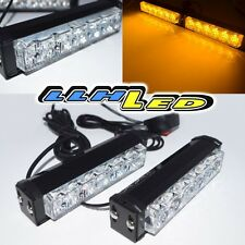 12 LED Emergency Vehicle Strobe Lights/Lightbars for Deck Dash Grille - Amber