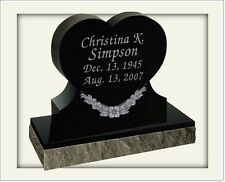 Granite grave stone - BLACK- multiple engraving options included