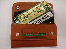 Soft Leather Tobacco Pouch with slot for paper Small Size for 12.5 Grams Tobacco