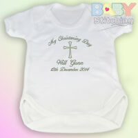 """""""My Christening Day"""" Personalised Embroidered Baby Vest / Baby Grow Baby Gift"""