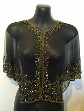 Hand Beaded Shrug Cape Wrap Stole Bolero - Black & Gold - Brand NEW - One Size
