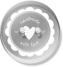 12 x 23mm 'Handmade With Love' Round Clear Acrylic Buttons (BT00029240)
