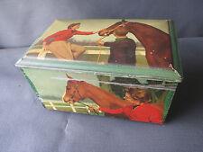 Ancienne boite en fer décor de cheval, déco de cuisine vintage french antique