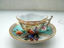 Dresden Flowers Demitasse Cup Saucer Watteau Scene HP Scalloped Turquoise Gilded