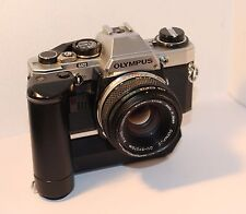 OLYMPUS OM10 35mm FILM SLR + OM WINDER 2 + 50mm F1.8 IN FULL WORKING ORDER (480)