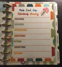 Weekly Planning Dashboard Insert for use with HAPPY Planner