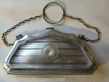 Antique Victorian Art Nouveau Pinstripe Silver P Leather Card Case Purse BPDC SM