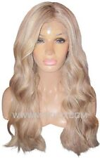 Human Hair Wig Front Lace 22 Long Wavy Ash Brown Blonde 9 60 Highlight Moklox UK