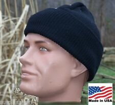 Military Hat 100% Wool Black USA Made Army USMC Police Knit Cap w Shelby P38