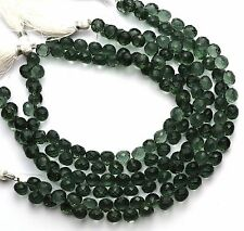 "Moss Aquamarine Color Quartz 8MM Approx. Faceted Onion Shape Beads 10"" Strand"