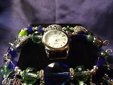 Gossip Woman's Watch with 2 Beaded Football Charm Bands B16 ME023  GO HAWKS!!