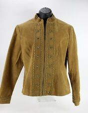 Raffaelo Leather metal studded suede jacket Womens M medium Camel Brown Western