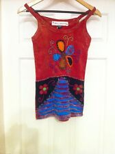 Funky Threads Red Strappy Cotton Vest Top Flower Festival Hippy Boho Size 8-14