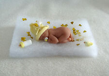 2.5 IN MINIATURE POLYMER CLAY  ~ OOAK BALD BABY DOLL ~ WITH HANDMADE EXTRAS