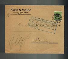 1923 Erfurt Germany Inflation cover to Berlin Deutsche Bank Katz & Adler