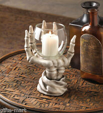 SKULL skeleton hand holding Candle stand votive holder statue Gothic throne