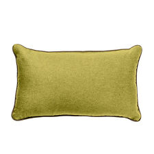"""Olive 12"""" x 20"""" OBLONG Wool Feel Soft Fabric Piped Cushions Filled with Pads"""