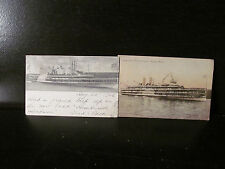 2 Antique Post Cards Hudson River Dayline Hendrick Ship New York 1908