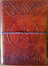 Pentacle Leather Book of Shadows Journal Blank 5x7 Tree Free Paper Wiccan Witch
