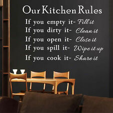 Kitchen Rule Vinyl Wall Stickers Modern Decals Funny House Decors Removable DIY