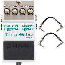 Boss TE-2 Tera Echo Guitar Effects Pedal Stompbox Footswitch + Patch Cables