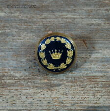Vtg Holland & Sherry Crown Wreath Gold Black Enamel Replacement Front Button