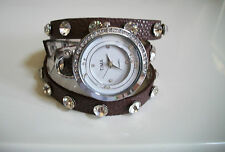 Brown Wrap Around Watch with Bling Sparkly Rhinestones Crystals