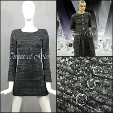 NEW Chanel Gray Lurex Wool Tweed Fantasy Short Fitted Cocktail Dress Size FR34 S