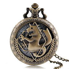 Hot Bronze Fullmetal Alchemist Hollow Kids Men Quartz Pocket Watch Necklace Gift
