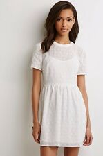 NWT New Forever 21 Floral Embroidered Fit And Flare White Dress Small S