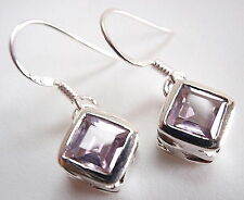Faceted Amethyst Square Earrings 925 Sterling Silver Dangle Corona Sun Jewelry