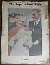 The POPE in NEW YORK newspaper supplement October 17, 1965 Jackie Kennedy, LBJ