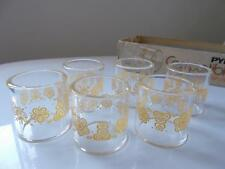 vintage  set of 6 PYREX GOLD BUTTERFLY COMPATIBLES NAPKIN RINGS Mint CORNING