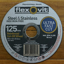 "Flexovit 125mm/ 5"" Metal Ultra Thin Cut Off Wheel Pk50"