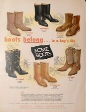 1963 Acme Thunderbird Cowboy South Western Boots Wellington~Suburban Trade AD