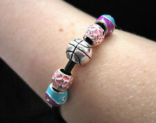 Leather BRACELET with CHARMS and BEADS; New (1060)