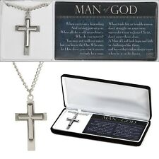"""Man of God Cross Necklace Pewter - On 20"""" Stainless Steel Chain, by Dicksons"""