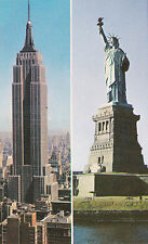 New York City Statue of Liberty and Empire State Building 1950s Vintage Postcard